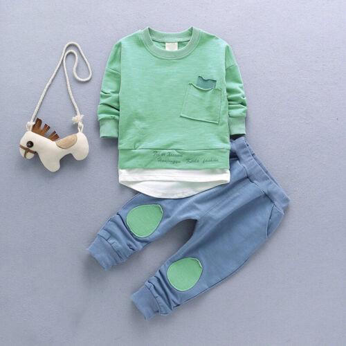 2pcs Herbst Baby Jungen Kleidung Outfit Kleinkinder Kinder Shirt Tops Hose Satz