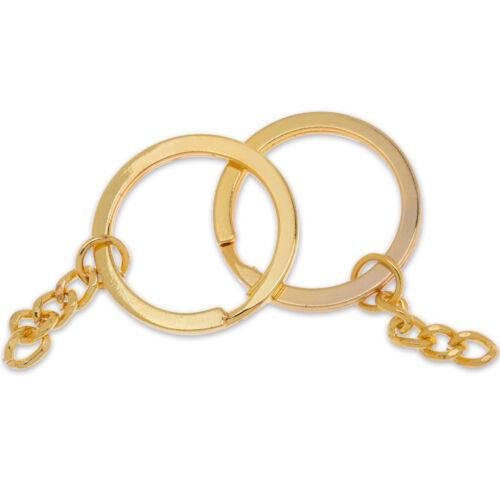 20mm Iron Key Ring with Chain Flat Split Ring for Keychains supplies50pcs 101844