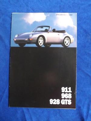 968 911 Turbo 3.6 928 GTS 1993 Porsche 16-page Car Sales Brochure Catalog