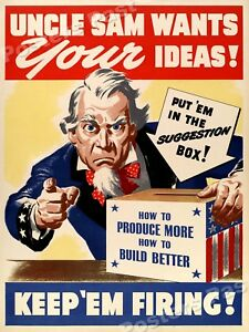 1940s uncle sam wants your ideas wwii historic war poster 20x28