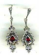 """925 Sterling Silver Garnet & Marcasite Drop / Dangle Earrings  Lgth 1.1/2""""  40mm"""