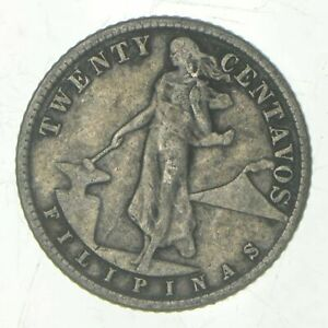Roughly Size of Nickel - 1944 Philippines 20 Centavos - World Silver Coin *500