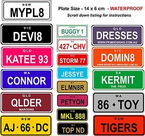 NOVELTY PERSONALISED KIDS MINI NUMBER LICENCE PLATES 14 x 6 SIGNS BIRTHDAY XMAS