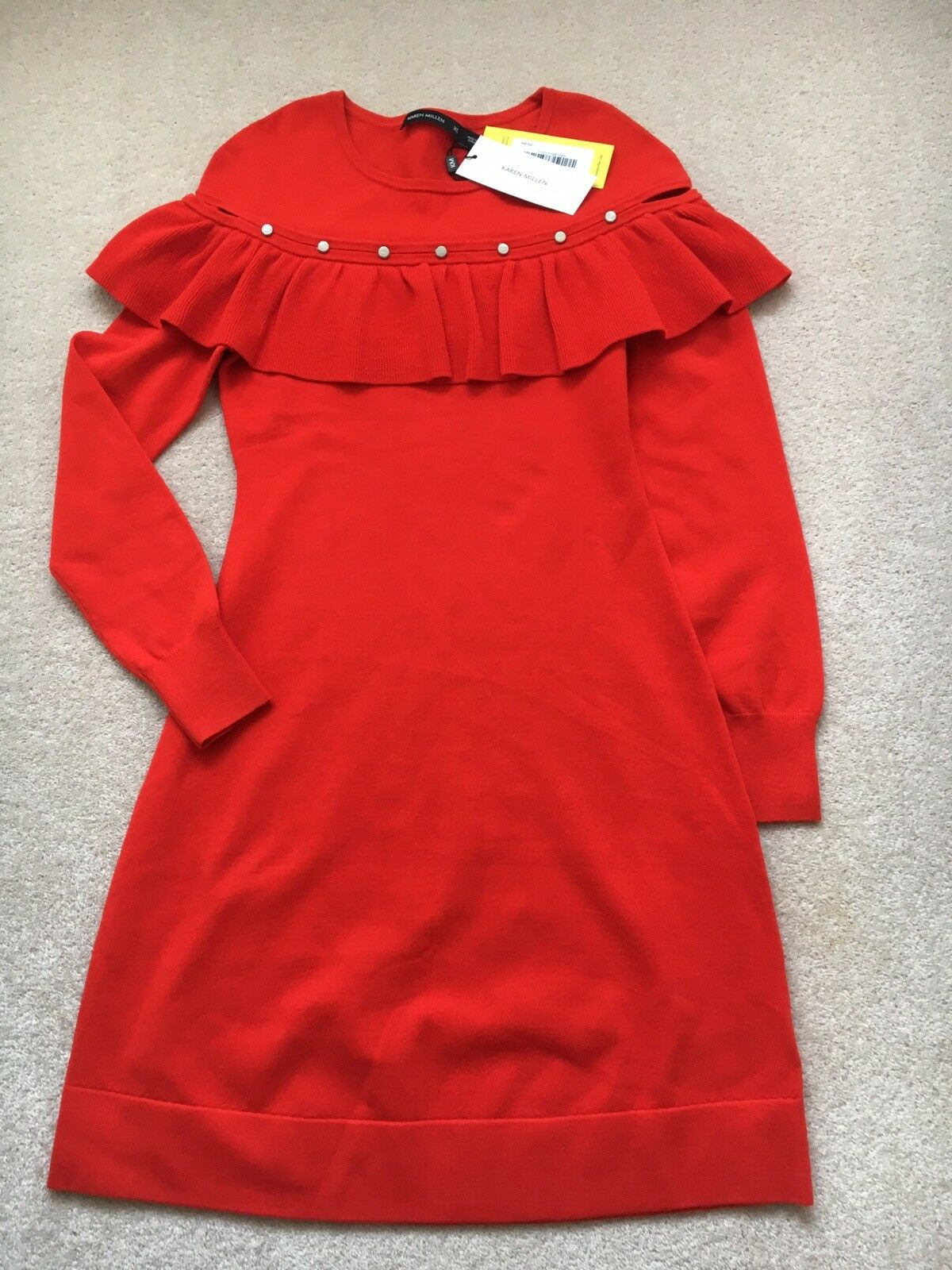 Karen Millen Red Red Red Knitted Dress Frill And Stud Detail Size XS Size 6 - 8 BNWTs 3382ed