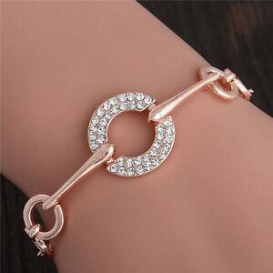 Hot-Sale-18K-Rose-Gold-Plated-Crystal-Rhinestone-Fashion-Lady-039-s-Bracelet-Bangle