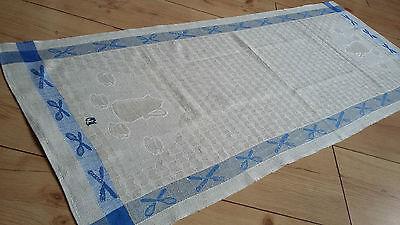 Leinen Handtuch Blaue Borten Küchentuch Mit Eingewebtem Geschirr / Besteck Rheuma Lindern