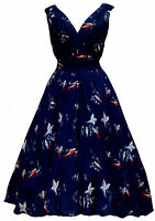 Ladies 1940's 1950's Vintage Style Blue Bird Print Full Circle Swing Tea Dress