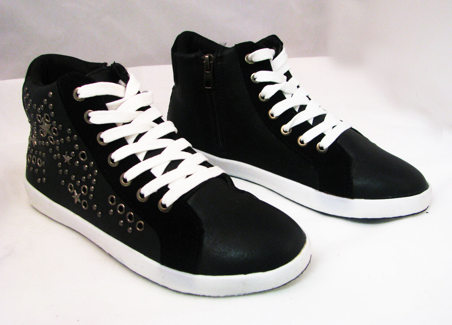 New Women's Studded Sneaker Leather High Top Shoes Spike Zipper Boots Sizes:5-11