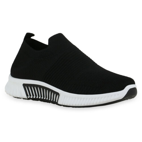 Damen Sportschuhe Slip Ons Strick Profil-Sohle Sportliche Schuhe 900082 Top