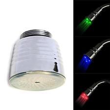 Water powered 3 colors bath LED light tap faucet temperature sensor Shower #E MT