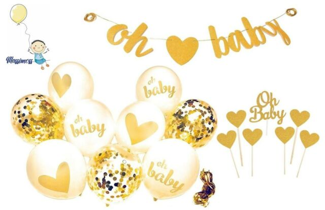 Baby Shower Decorations Gold Banner [Oh Baby] Confetti Gold White Balloons + Top