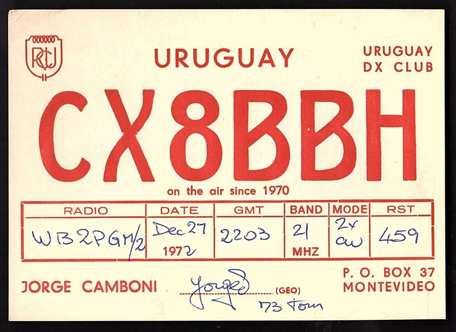 QSL QSO RADIO CARD Jorge Camboni,CX8BBH,1972, Uruguay (Q2155)