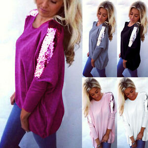 Womens Casual Loose Sequin Long Sleeve Pullover Blouse Tops Ladies Baggy Jumper
