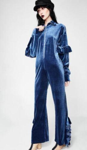 Little Sunny Bite Blue Velour Jumpsuit Size F All