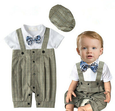 2pcs Kids Baby Boy Top Peaked Cap Hat+Romper Playsuit Clothing Outfit 0-18M