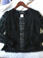 Authentic Chanel Lightweight Jacket Black Cotton Silk sequin bead sz 36 Raw Hem