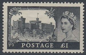 GB 1955 £1 CASTLE QEII LHM ST EDWARD'S CROWN (ID:291/D38930)