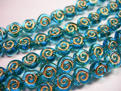 24 - 8mm Aqua with Gold Snail Shell Swirl Spiral Coin Czech Glass Beads