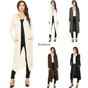 New-Women-Casual-Hooded-Long-Sleeve-Solid-Maxi-Cardigan-BRCE