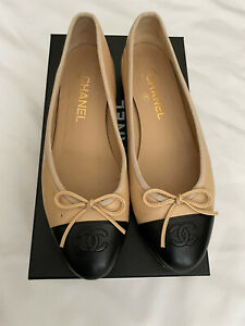 Chanel-Ballet-Flats-Classic-Cap-Toe-Ballerina-Leather-Beige-Nude-Tan-Black-Sz-39
