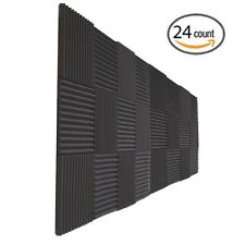 """24 Pack Acoustic Wedge Studio Soundproofing Foam Wall Tiles 12"""" X 12"""" X 1"""""""