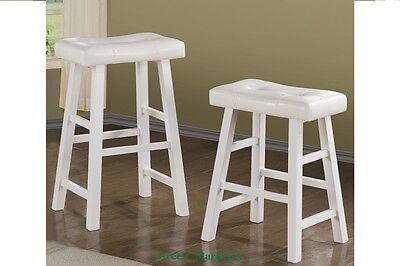 GMPD_24''H White Wooden Finish Faux Leather Cushion Counter/Bar Stool Set of 2