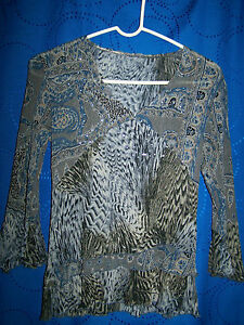 Womens-Multi-color-Patterned-w-Sequins-Stretchy-Top-Size-S