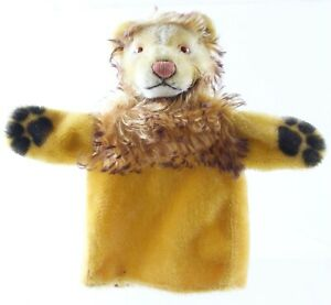 Vintage-Steiff-Leo-The-Lion-Hand-Puppet-8-Tall-W-Button-ca-1960s