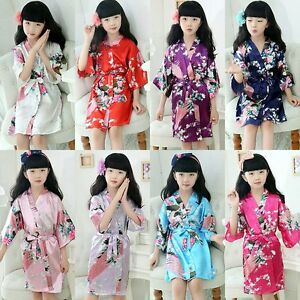 Kids Girls Boys Flora Silk Kimono Robe Nightwear Wedding Dress Satin ... 76e4a18cd