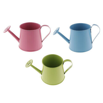 3Pcs//Set French Style Metal Tin Flower Pot Mini Bonsai Watering Can Flowerpot