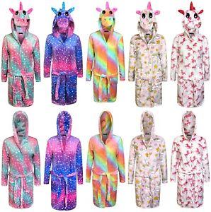 Licorne Peignoir Pour Femme Adulte Robe de Chambre Souple à Capuche Pyjama