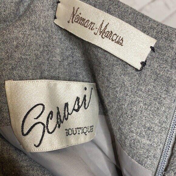 Scaasi Boutique vintage wool sheath dress 8 gray … - image 4