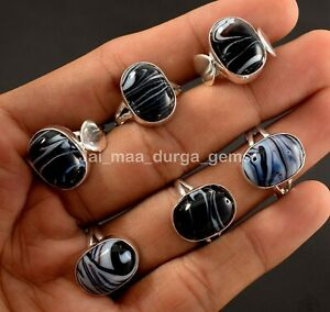 New Wholesale 10 Pcs Lot Black Gemstone 925 Sterling Solid Silver Rings RS-45