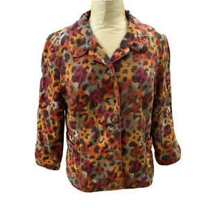 Silkland Womens 100% Pure Silk Blazer Jacket Blazer Animal Leopard Print XL