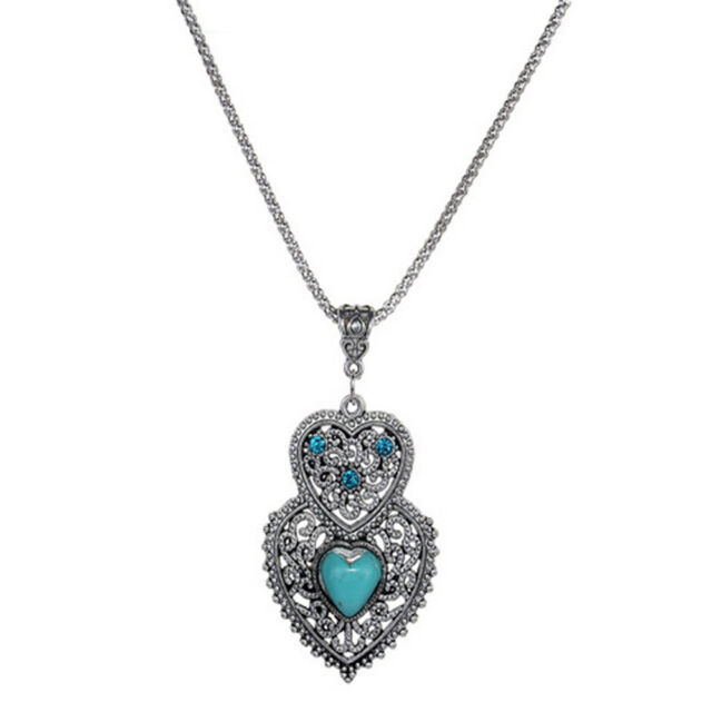 Turquoise Double Heart Pendant Necklace Jewelry Chain Necklace For Women