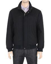 London Fog Mens M Solid Black Wool Blend Jacket Car Coat With Purple Lining
