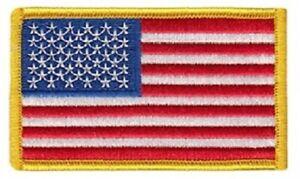 U.S. Flag Patch Medium Gold Color Border - Stars on Left