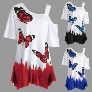 Fashion-Women-T-shirts-Butterfly-Printed-Off-shoulder-Irregular-Top-GIFT