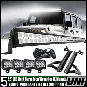 """For Jeep Wrangler JK 50/"""" 700W LED Light Bar 4/"""" Pods Lights w// Mount Bracket 52/"""""""
