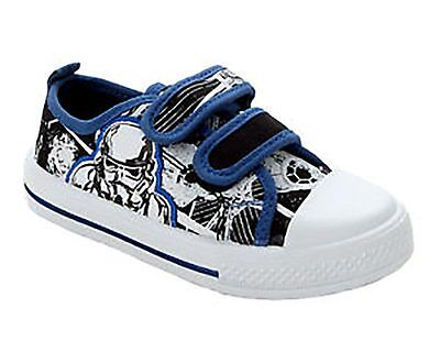 STAR WARS STORM TROOPER Boys Canvas Riptape Casual Shoes Trainers 7-13 FG Fit
