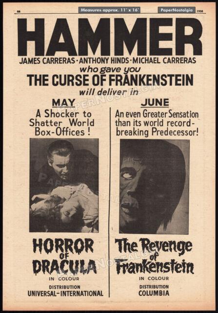 HORROR OF DRACULA_/_ REVENGE OF FRANKENSTEIN__Orig. 1958 Trade AD_poster__HAMMER