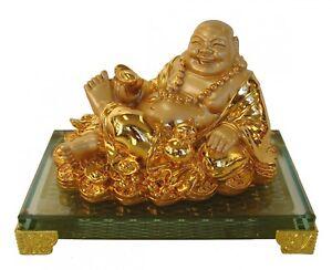 chinese golden lying down happy laughing money buddha statue ebay