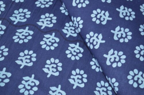 Blue Coloured By The 5 Yard Indian Hand Block Print 100/% Cotton Craft Fabric