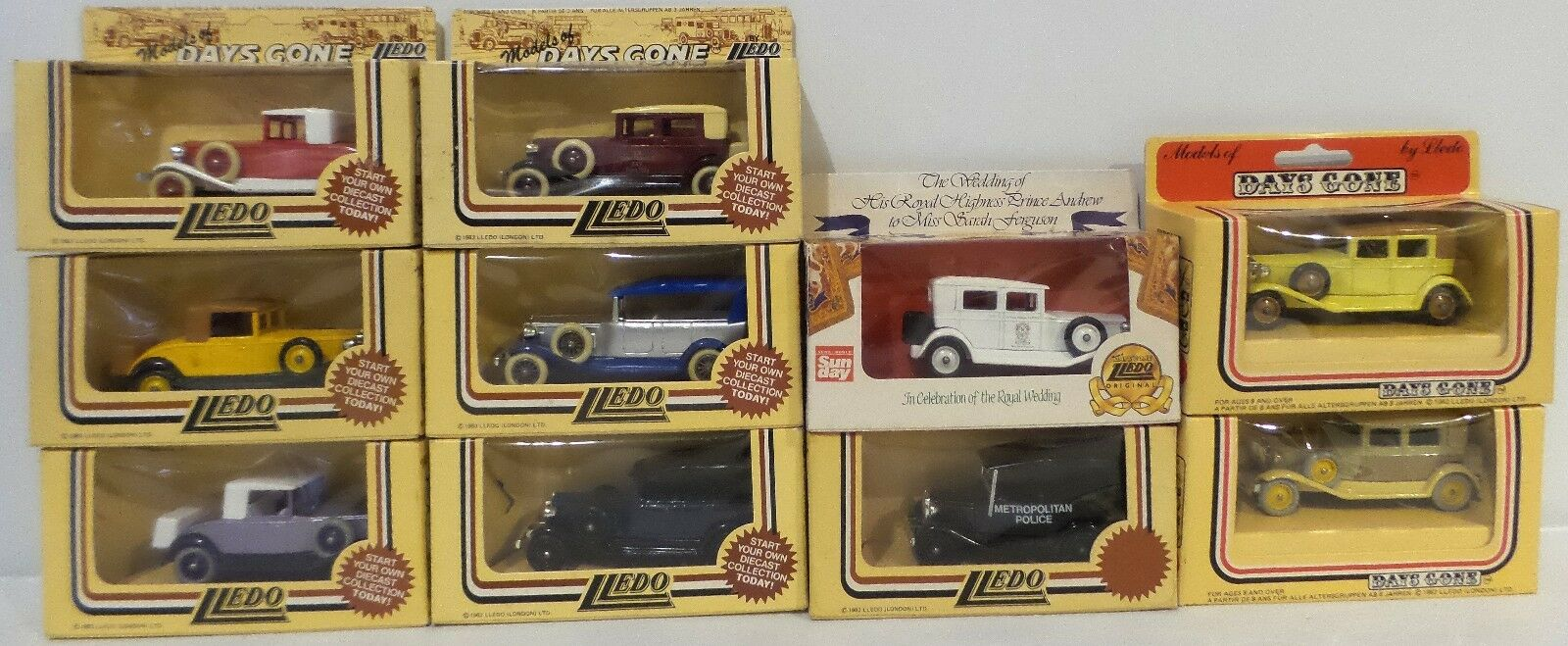VEHICLES   DIE CAST SET OF 10 CARS MADE BY LLEDO (DT) 132