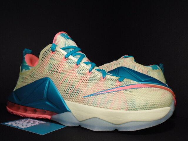 Nike LEBRON LEBRONALD XII 12 LOW PREMIUM LEBRONALD LEBRON PALMER LIME MANGO Jaune vert Bleu 12 9aed3c