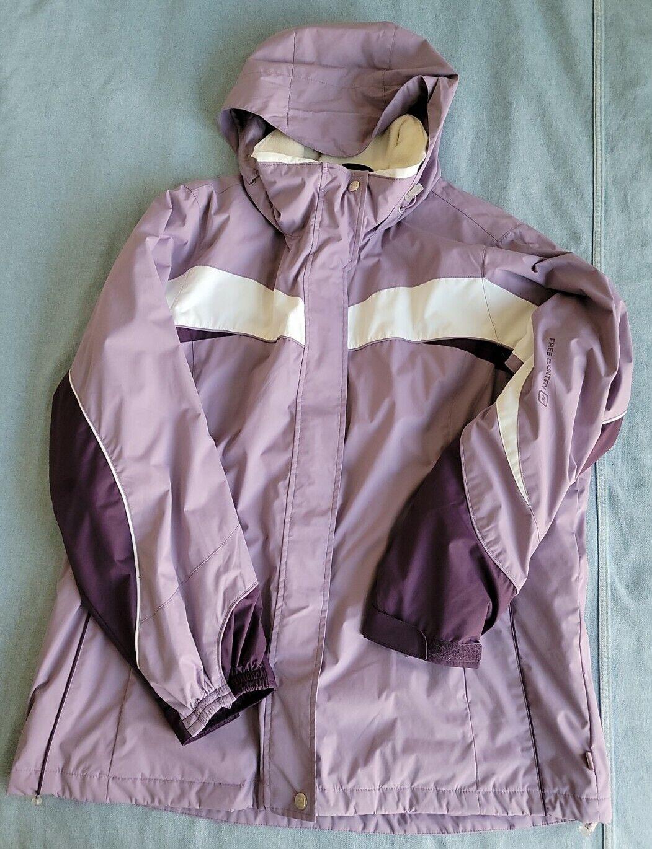 free country radiance women's xl purple full zip winter jacket coat pockets hood