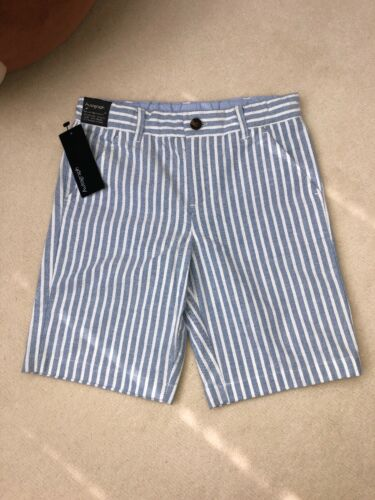 autograph marks and spencer Boys Formal Linen Shorts Blue Stripy 6-7 Y