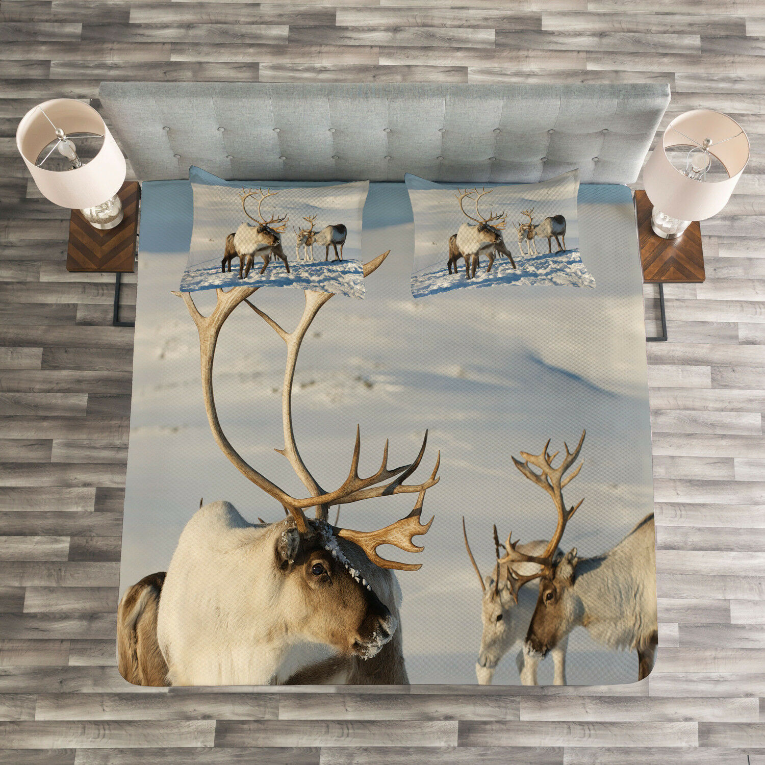 Winter Quilted Bedspread & Pillow Shams Set, Reindeers Norway Caribou Print