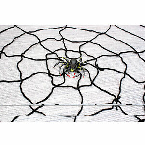 Halloween Giant Nylon Black Spider Web Decoration With Spiders Indoor Outdoor