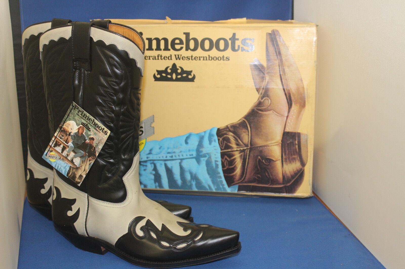 Prime Stivali Cowboy Stivali Stivali Western NERO PELLE BIANCA HANDMADE GR. 40